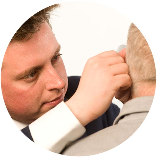Mark Williams - audiologiest at the tinnitus clinic conducting inspection of ear